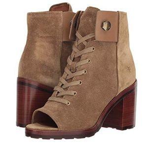 FRYE Danica lug peep toe lace up boots sand tan